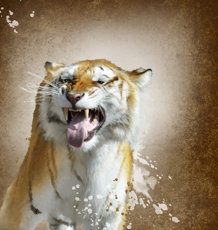 watercolour: Digital Painting Of Tiger Portrait Stock Photo