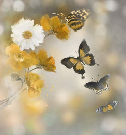 watercolour: Digital Painting Of Flowers And Butterflies Stock Photo