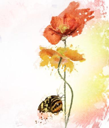 Digital Painting Of Poppy Flowers