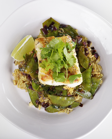 grilled vegetables: Cod Fish Fillets With Rice and Peas Stock Photo