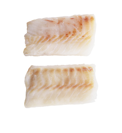fish isolated: Cod Fish Fillets Isolated On White Background Stock Photo