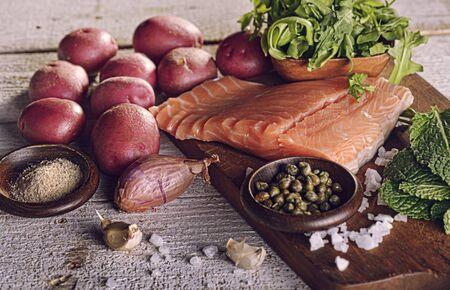 Cooking Ingredients on Wooden Surface Imagens