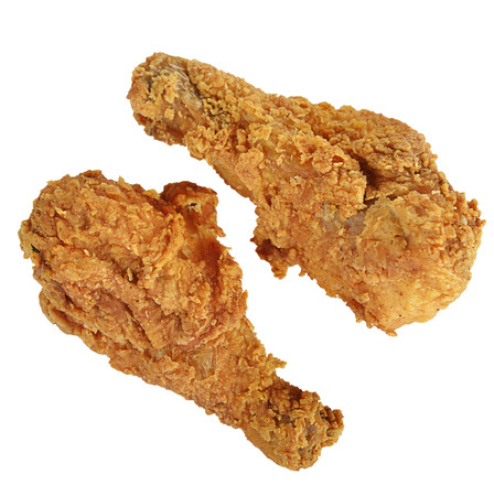 Fried Chicken Drumsticks Isolated on White Background Stock Photo