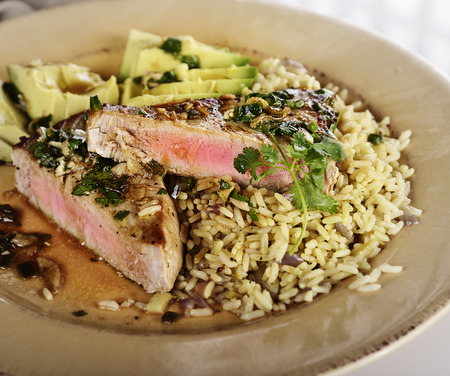 ahi: Ahi Tuna Steak With Rice and Avocado