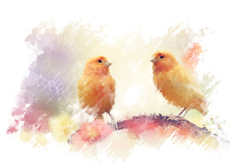 Digital Painting of Yellow Birds In The Garden