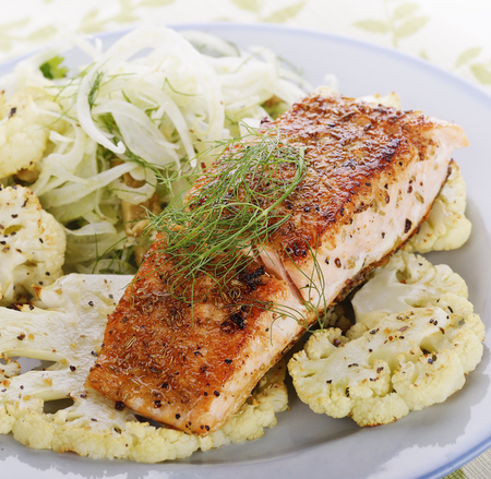 seafood salad: Salmon Fillet with Cauliflower and Fennel Salad