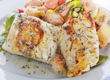 seafood: Seared Mahi Mahi Fillets with Vegetables and Sauce