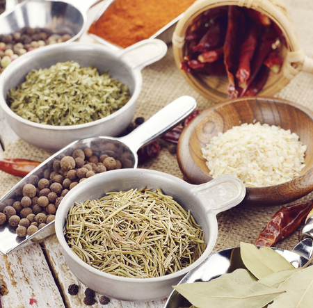 dried food: Assortment of Dried Spices And Herbs Stock Photo