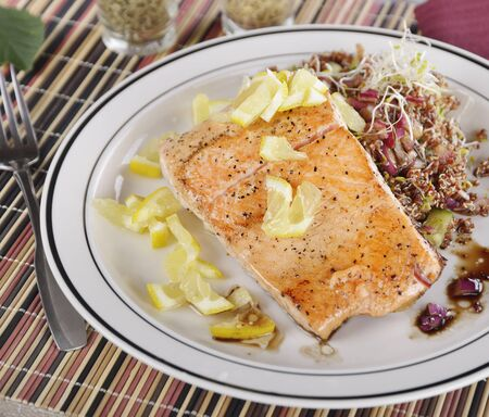 red quinoa: Salmon with Lemon and Red Quinoa Salad