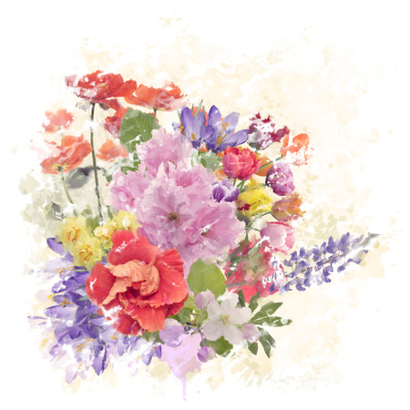 painting: Digital Watercolor Painting of Flowers