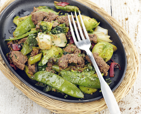 skillet: Skillet with Beef and Vegetables Stock Photo