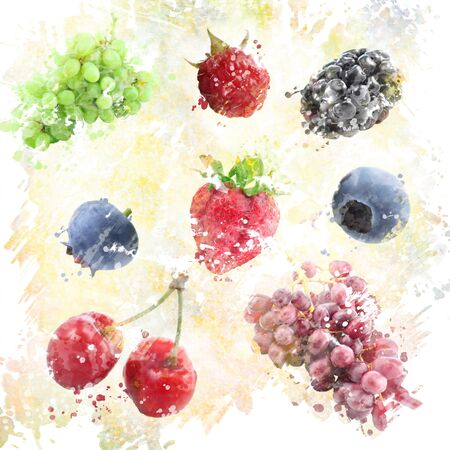 Digital Painting of  Watercolor Fruits