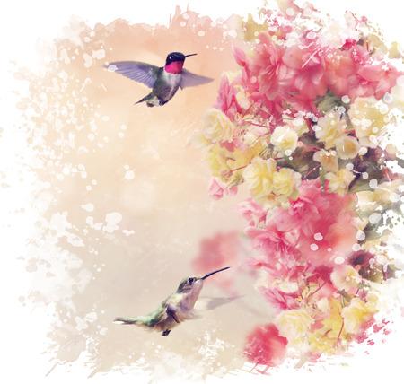 Digital Painting of  Hummingbirds in Flight Around Flowers