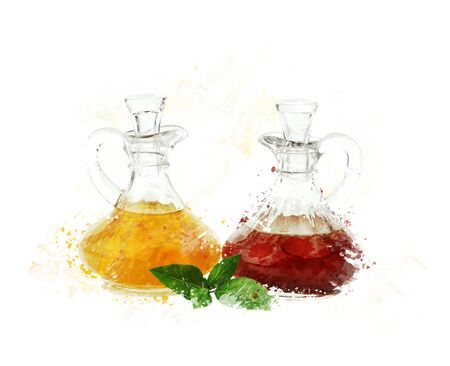 decanter: digital painting of  salad dressings in glass bottles Stock Photo