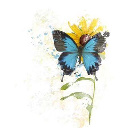 butterfly flower: digital painting of  Blue Butterfly on a Flower