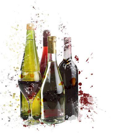 Pintura digital del surtido de vinos Foto de archivo - 60987958