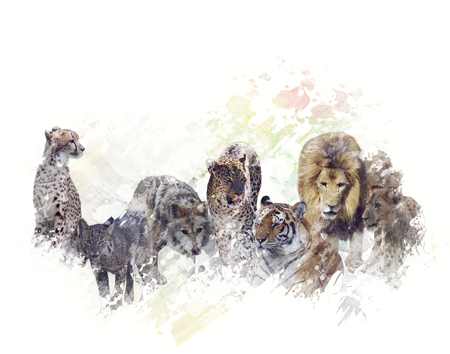 Digital Painting of  Group of Wild Animals