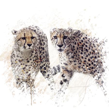 Peinture numérique de deux guépards Portrait Banque d'images - 75108800
