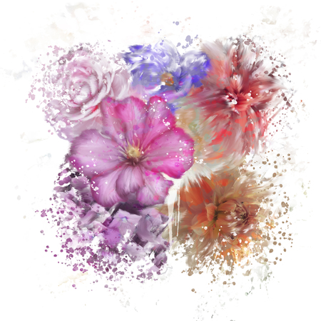 Digital Painting of  Flower Background