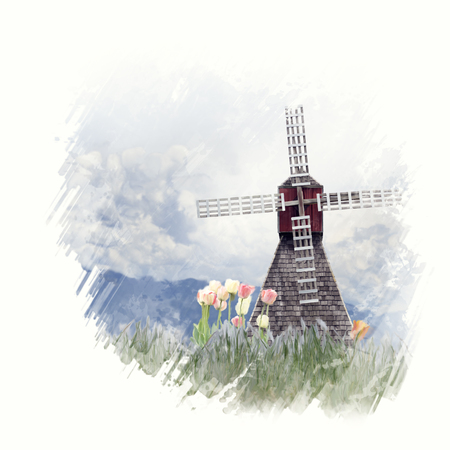 Digital Painting of windmill and tulips