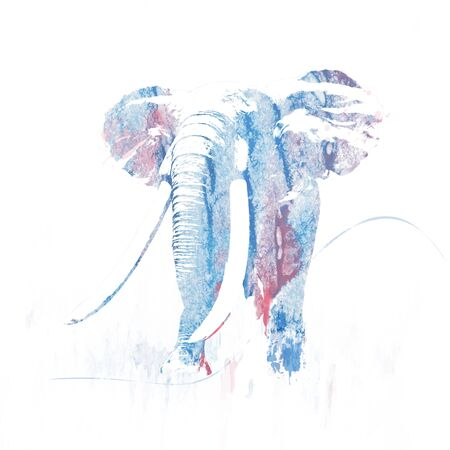 Digital Painting of silhouette of elephant Stock Photo