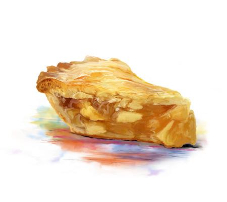 Peinture numérique de tranche de tarte aux pommes Banque d'images - 84980661