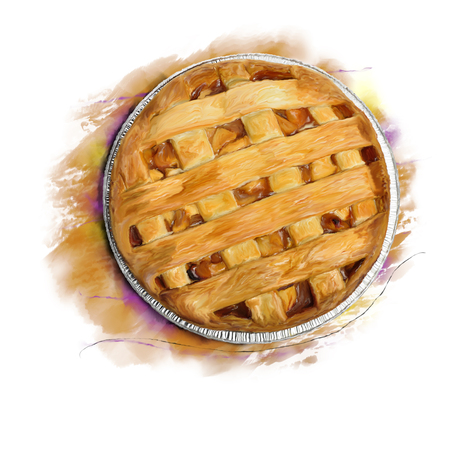 Digital Painting of  Apple Pie , top view