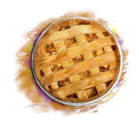Digitale Malerei von Apfelkuchen, Draufsicht Standard-Bild - 85085954