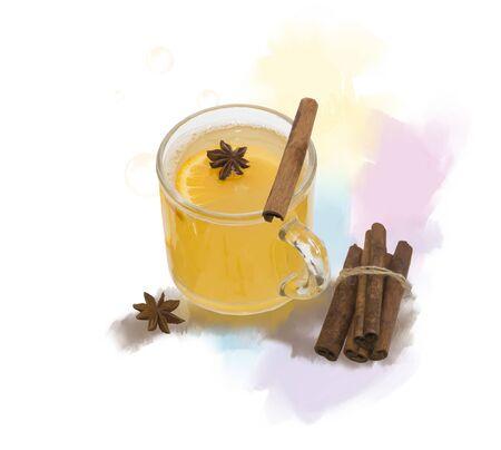 Digitaal schilderen van hete Apple-cider met specerijen