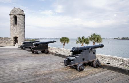Cannons in Castillo de San Marcos, St. Augustine, Florida Editorial