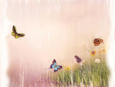 Digital Painting of Butterflies on a field