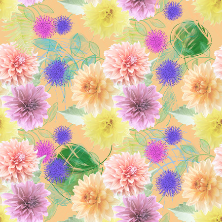 seamless  pattern of dahlia flowers