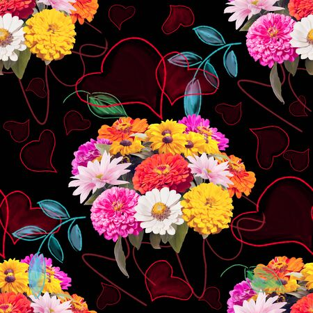 seamless floral pattern with hearts and leaves