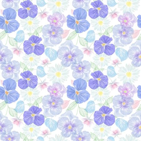 Seamless floral pattern with viola and daisy. Endless texture for your design.