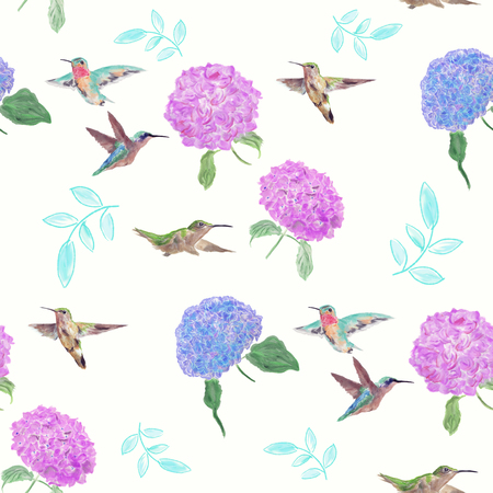seamless  pattern with flowers and hummingbirds watercolor on white background