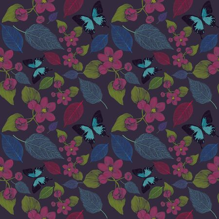 seamless  pattern with flowers and butterfly. Endless texture for your design.