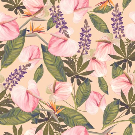 seamless  pattern with  flowers and leaves. Endless texture for your design. Stock Photo