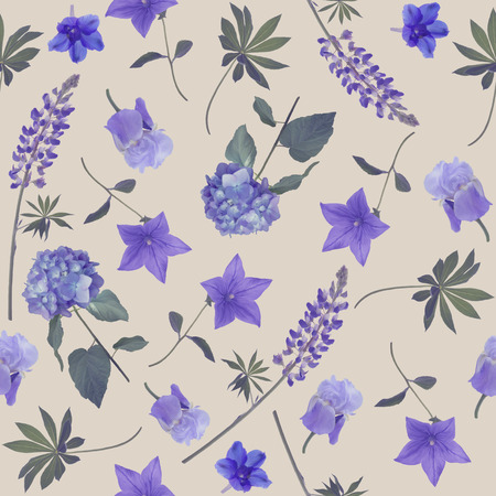 seamless   pattern of blue flowers . Endless texture for your design.