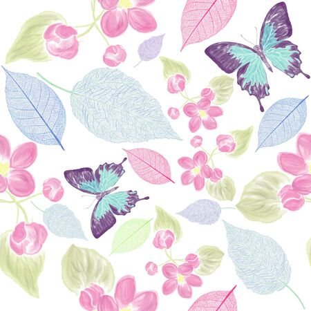 seamless  floral pattern with bbutterfly . Endless texture for your design.