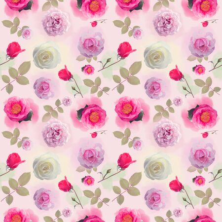 seamless   pattern with rose flowers . Endless texture for your design.