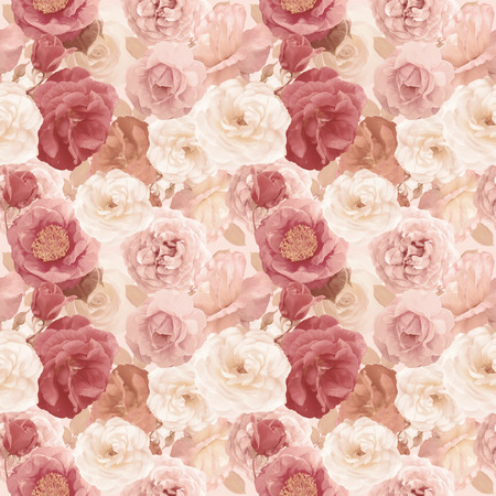 seamless   pattern with roses and leaves . Endless texture for your design.