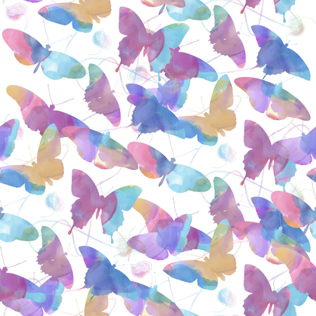 seamless   pattern of watercolor butterflies . Endless texture for your design. Stock Photo