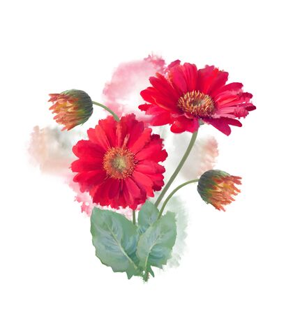 Digital painting of Gerbera Flowers