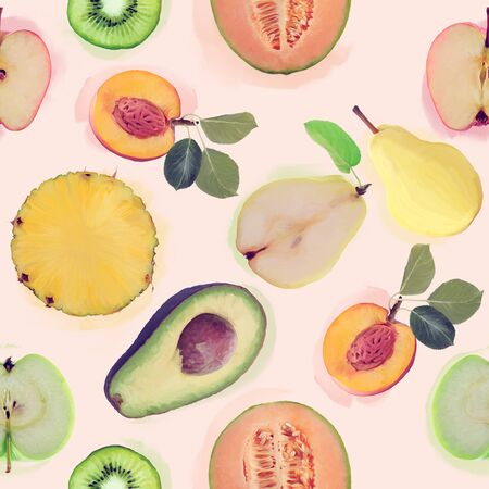 seamless   pattern with fresh fruits . Endless texture for your design.