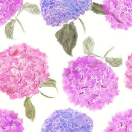 seamless   pattern of hydrangea flowers