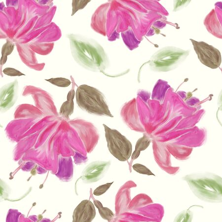 seamless   pattern of watercolor Fuchsia Flowers