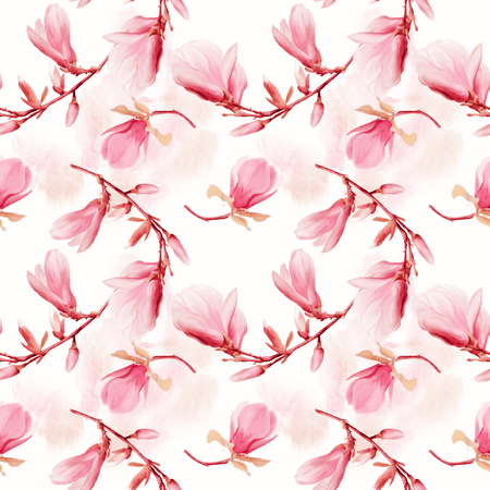 seamless  pattern of magnolia flowers . Endless texture for your design. Stock Photo