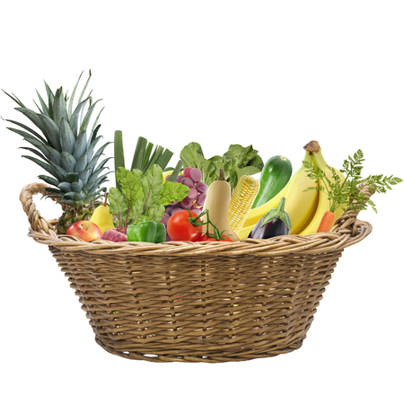 Fresh fruits and vegetables in a basket isolated on white background Banque d'images