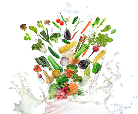 Healthy food with water splash on white background Banco de Imagens