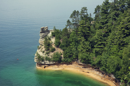Miners Castle rock formation. Located in Pictured Rock National Shoreline, Michigan, USA.